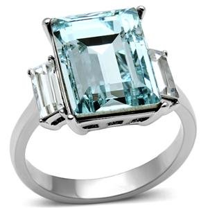 3-Stone Aquamarine and Clear Radiant Cut Crystal Ring