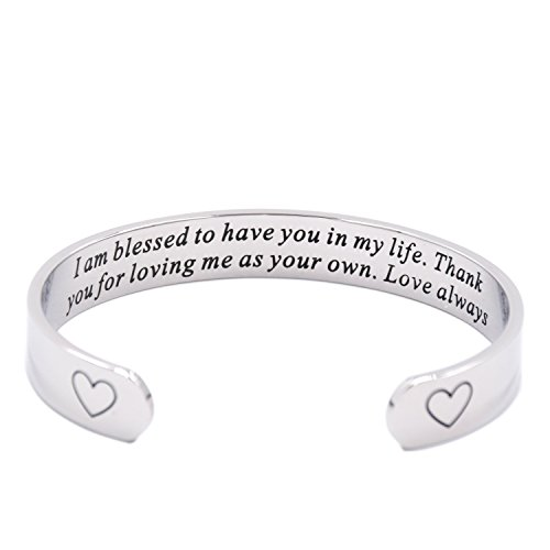 LParkin I Am Blessed to Have You in My Life Cuff Bracelet Stepmom Gift Godmother Gift ()