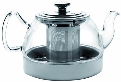 transparent//Silber 3-Einheiten IBILI Teekanne-Set Kristall-Induction mit Filter 800 ml aus Glas//Metall 0,8 L