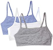 Fruit of the Loom Womens Spaghetti Strap Cotton Pullover Sports Bra, 3-Pack