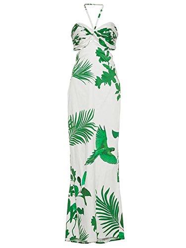 Donne Giorno Delle Maniche Vestito Verde Halter Bretelle D'estate Casf Backless Senza 78wx0RdSq0