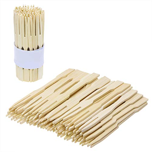 Mini Skater 3.5 Inches Bamboo Cake Dessert Picks Small Fruit Pick Fork Eco Friendly Biodegradable for Home Household Party Dining Decor Tableware (300Pcs)]()