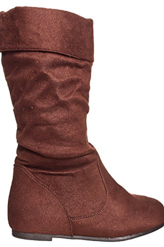 Dnd Fashion Faux Suede Rits Ontwerp Gesp Casual Laars Bruin-t1638