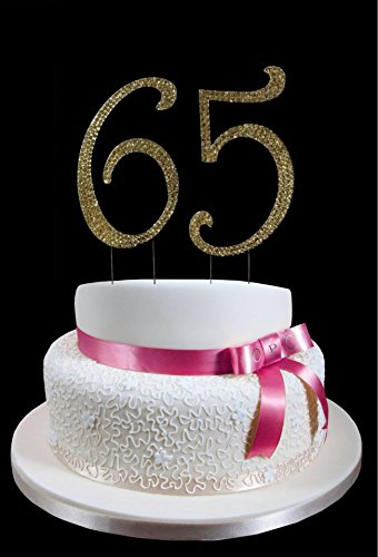 Amazon Large Gold 65th Birthday Wedding Anniversary Number Cake Topper With Sparkling Rhinestone Crystals