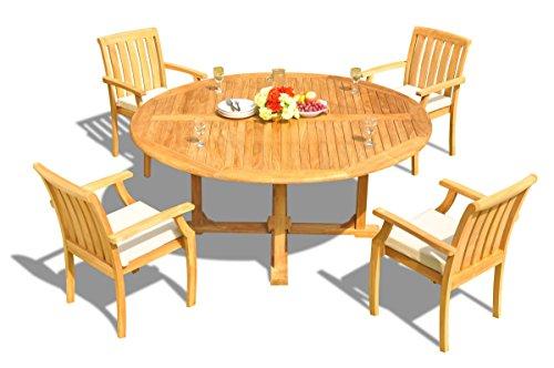(New 5 Pc Luxurious Grade-A Teak Wood Outdoor Dining Set - 72