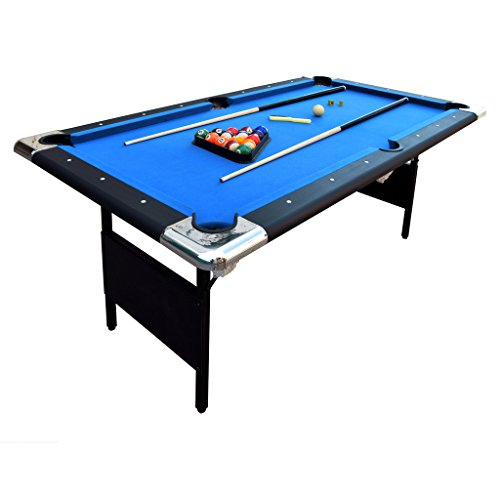 Hathaway Fairmont Portable 6-Ft Pool Table for Families with Easy Folding for Storage, Includes Balls, Cues, Chalk (Ball Fools Table)