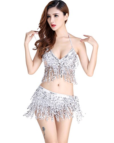 ZLTdream Belly Dance Costume Bra Top with Chest & Hip Scarf with Fringe -