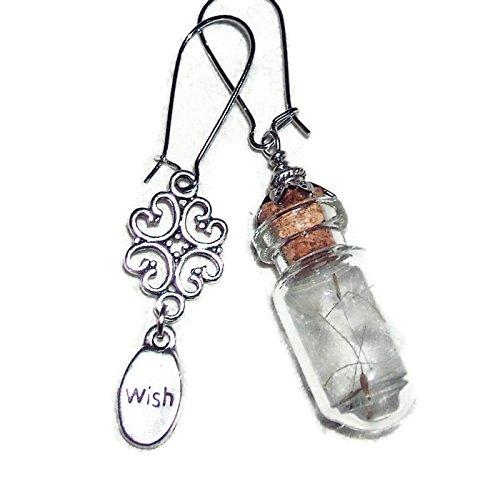 MAKE A WISH EARRINGS Real Dandelion Seed Wisps GLASS BOTTLE Word Charm Dangle Drops SILVER Pltd