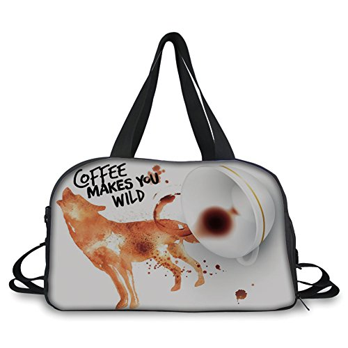 (iPrint Travel Handbag,Coffee Art,Beverage of Wilderness Spilled Drink Blots and Howling Wold Figure Decorative,Burnt Sienna Black White ,Personalized)