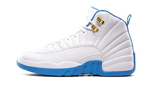 Air Retro 12 WHITE/METALLIC GOLD-UNIVERSITY BLUE 510815-127 Lover Couple Leather Basketball Shoes for Men Women Women 36.5EU=6 D(M)US by Release 2016 Blue White Basketball Sneaker