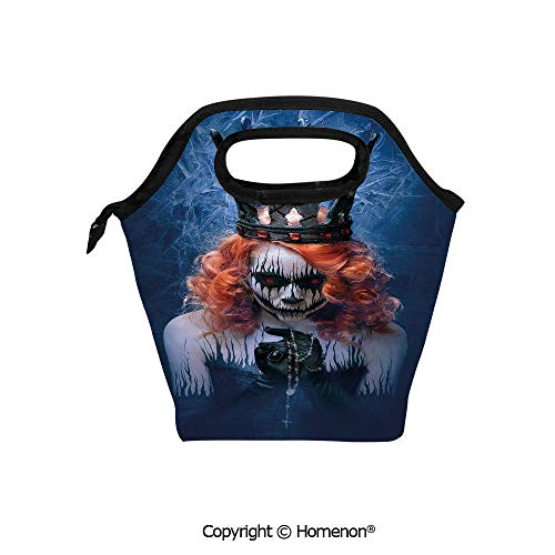Insulated Neoprene Soft Lunch Bag Tote Handbag lunchbox,3d prited with Queen of Death Scary Body Art Halloween Evil Face Bizarre Make Up Zombie,For School work Office Kids Lunch Box & Food Container -