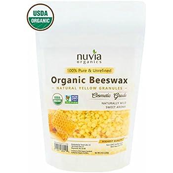 Nuvia Organics Yellow Beeswax, USDA CERTIFIED & Non -GMO Verified; 8 oz
