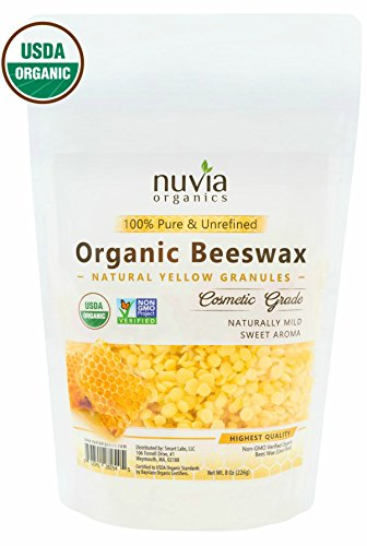 Nuvia Organics Beeswax, USDA Certified & Non -GMO Verified, Natural Yellow Granules, 8 oz