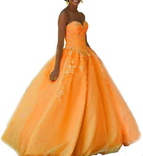 0f432aa329 Veilace Women s Lace Ball Gown Sweet 16 Beads Girls  Prom Quinceanera  Dresses