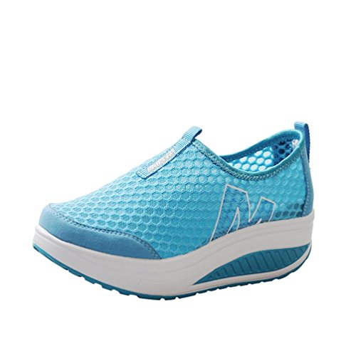 (Women's Girls Mesh Lightweight Breathable Casual Sneakers Thick Bottom Platform Wedges Shoes for Sports Running Hiking (Sky Blue, US:5.5(CN:36)))