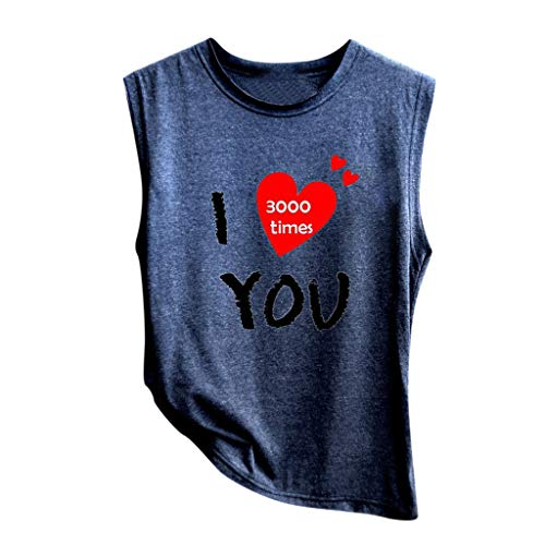 Mayunn I Love You 3000 Women Soft V-Neck Couple Times Vest Letter Print Sleeveless Tops Loose Tops Blouse Simple Vest (Blue, M)