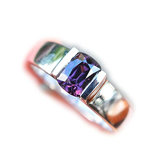- Lovemom 24.13ct Natural Cushion Unheated Purple Spinel 925 Silver Ring 9US Myanmar #W