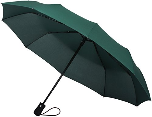 Crown Coast Green Travel Umbrella - 60 MPH Windproof Lightweight for Men Women and Kids, Compact Travel Umbrellas in Multiple Colors