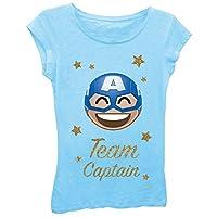 Marvel Big Girls' Team Captain Kawaii Short Sleeve Tee, Cancun, S