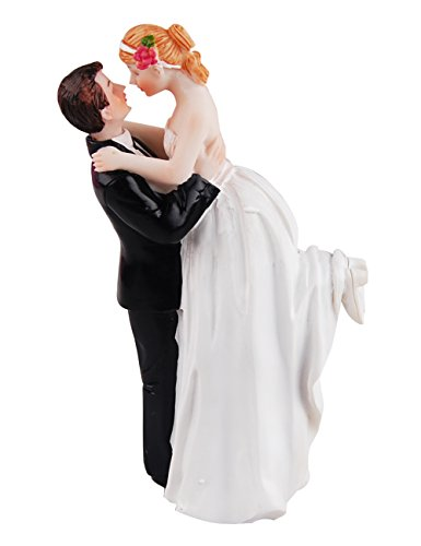 Meiyiu Creative LoveLy Romantic Wedding Anniversary Cake Toppers Figurines Couple Happy Bride and Groom Resin Decoration