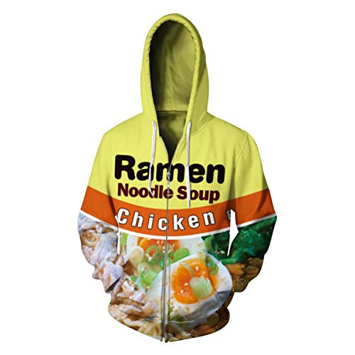 Emlyn Adrian Ramen Noodle Soup Hooded Sweatshirt Zipper 3D Printed Chicken Letter Hoodies S