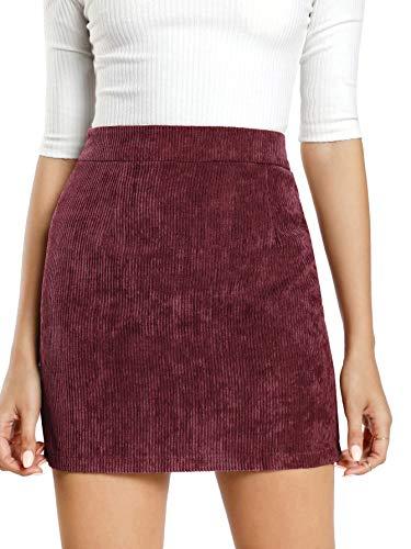 Back A-line Skirt Zip (MAKEMECHIC Women's Zipper Back A-line Bodycon Mini Faux Suede Skirt 1-Burgundy L)