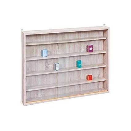 Easy Home Simply A20 - Vitrina de madera MDF y vidrio, Blanco