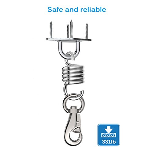 Finether Hammock Chair Ultimate Hanging Kit – Stainless Steel 500 LB Capacity Hammock Spring, Swivel Hook, and Ceiling Hammock Mount (with 4 stainless mounting screws)