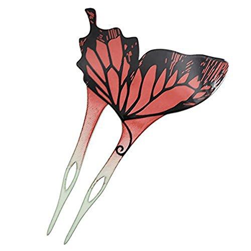 Acrylic 2-Prong Geisha Butterfly Hair Stick Fork Green Back