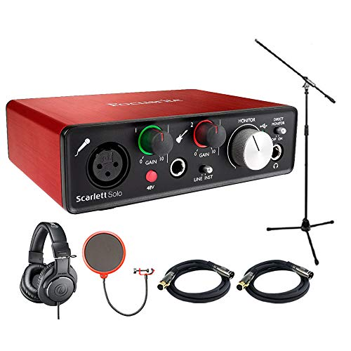 Focusrite Scarlett Solo USB Audio Interface (2nd Generation) with Pro Tools Includes Bonus Audio-Technica Professional Monitor Headphones and More