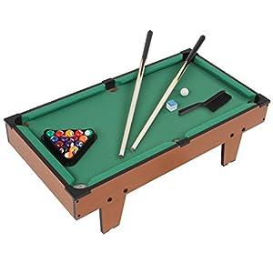 Jago Mini-Billardtisch mit 2 Billardqueues und grünem Bezug