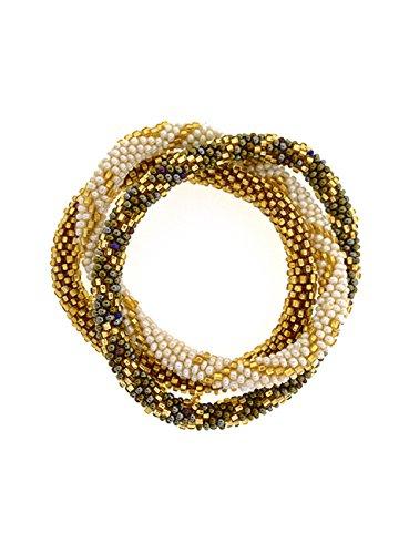 Fair Trade Glass Beaded Bracelet - The Original Roll-on Bracelet- Set of 3-Mocha
