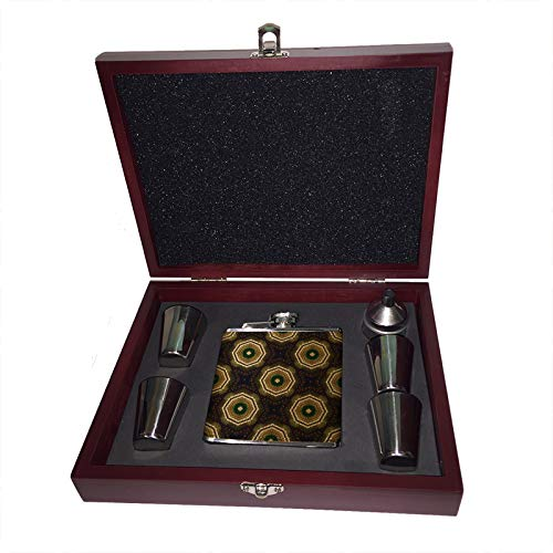 Karma - Leather Wrapped Liquor Flask Wood Gift Box Set