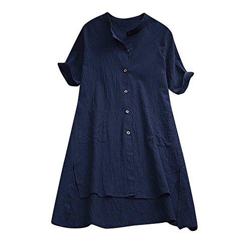 HGWXX7 Womens Solid Asymmetrical Linen Buttons Loose Tunic Tops T Shirt Blouse (XL, Navy)