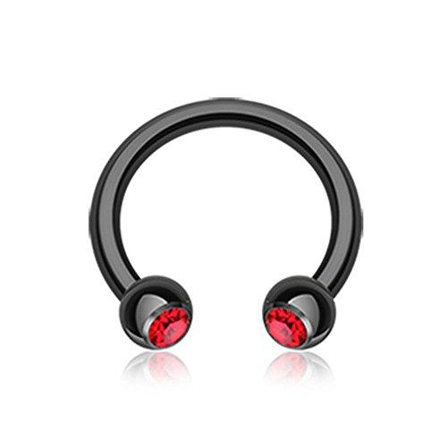 Blackline PVD Red Gem Ball Horseshoe Circular Barbell (16G, L: 3/8