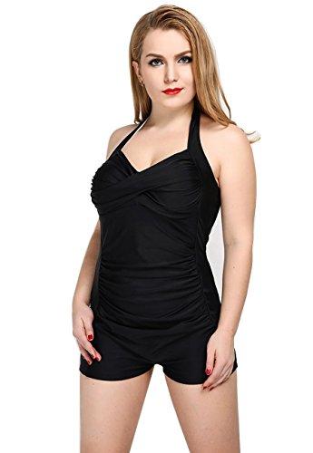 HZZ Para mujer de baño de una pieza del traje de baño Shorty Shaping Cuerpo cabestro ropa de playa Black