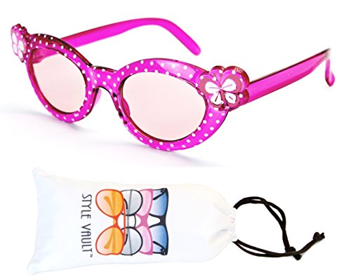 Kd33-vp infant toddler Kids Childrens girls (6 month~ 2 year old) cateye Sunglasses (B1461F Crystal Pink, - Infant Designer Sunglasses