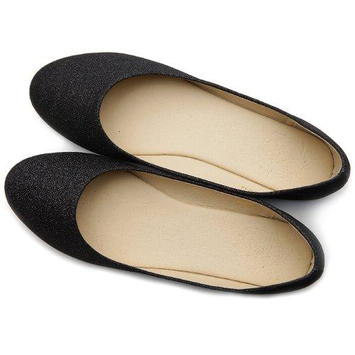 Ollio Womens Shoe Ballet Glitter Basic Cute Comfort Flat Black BPwGuE0s