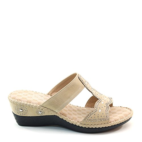 Slide New Sandals Wedge Beige Brieten Comfort Womens Studded Thick Insole Sole Strappy zzBrw1