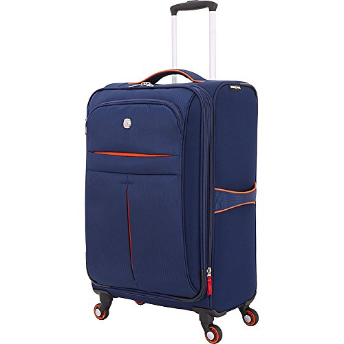 Swiss Gear Unisex Polyester Spinner Luggage  Navy/Orange, 23.5