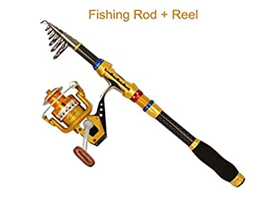 PEZO Portable Extendable Carbon Fiber Travel Fishing Rod and Yumoshi Spinner Reel Combo from PEZO