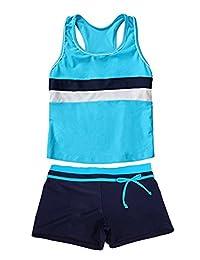MOSZA Little Girls' Summer Beach Wear Two Piece Boyshort Tankini Kids Swimsuit Set