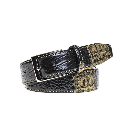 Olive Vintage Twice Mock Croc Belt by Roger Ximenez: Bespoke Maker of Fine Leather Goods