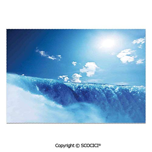 SCOCICI Set of 6 Durable Polyester Place Mats Heat Resistant Table Mats Niagara Falls and Clear Sky Landscape Image Majestic River Nature Theme Artistic Print for Party Kitchen Dining Table
