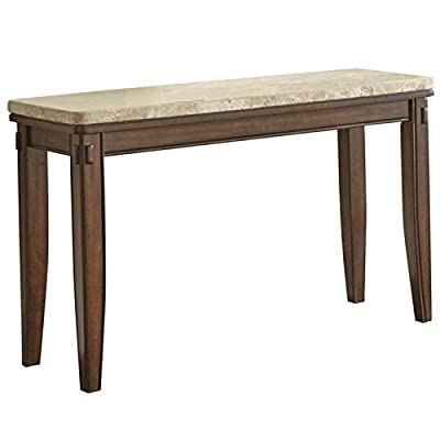 Steve Silver Eileen Marble Top Console Table in Hand Burnished Pecan