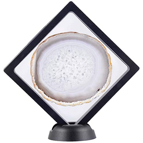 Agate Medallion - rockcloud 3D Floating Frame Agate Slice Display Holder with Stands for Challenge Coins, Medallions, Jewelry Specimen Show Case