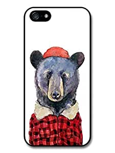 Hipster bear with Hat Illustration on White Background Case For Sam Sung Galaxy S4 I9500 Cover