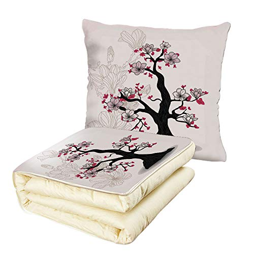 (iPrint Quilt Dual-Use Pillow House Decor Magnolia Tree Asian Garden Cultural Traditional Style Nature Illustration Print Multifunctional Air-Conditioning Quilt Black Pink Fuchsia)