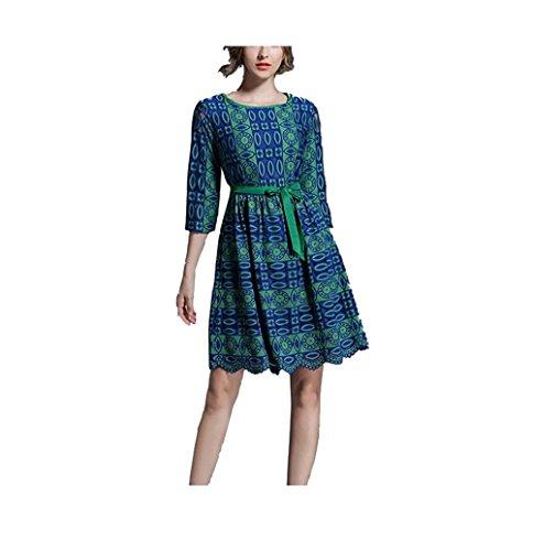 stampa Verde 3 da vintage 4 pizzo a lunghe Oudan maniche manica donna con Abito con lunga vintage lunghe maniche AqwnfPUa