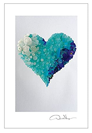 Amazon.com: Aqua Mar Corazón de vidrio postal Prints. 10 ...